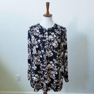 Merona Crew Neck Floral Half Button Up Shirt
